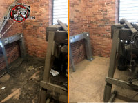 Before and after picture of bat guano cleanup in a mechanical loft