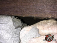 Gap between the top course of stones and a wooden timber that allowed bats to get into a stone house in Tuscaloosa Alabama