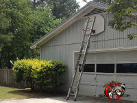 Ladder up against a house under the gable vent at a bat removal job in Chattanooga Tennessee