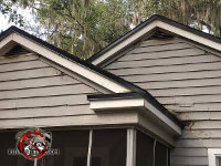 Bat staining under the gable vents of a house in Valdosta Alabama