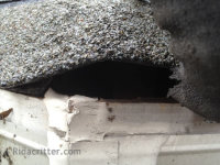 A hole in a roof formed by the shingles rising up from the roof structure