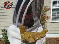 Man in a beat suit holding out his gloved hand to show a honey bee that was removed from a house in Albany Georgia.
