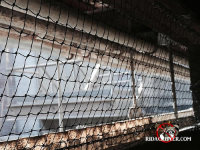 Bird netting installed to keep birds out of a factory building in Chattanooga Tennessee