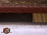 Flying squirrel entry gap of about an inch between the roof sheathing and fascia of a house in Hoover Alabama