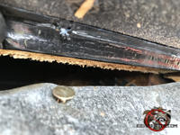 Gap between the roof sheathing and the metal flashing that needs to be repaired to keep mice out of the attic of a Columbus Georgia home.