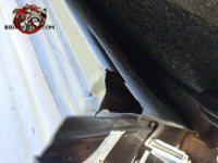 Mouse sized triangular gap in the sloppily applied roof flashing and drip edge allowed mice into the attic of a Zebulon Georgia home.