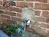 Homeowner in Birmingham Alabama patched a fist sized hole in a brick wall with a square foot of mortar and still managed to leave a mouse gap around the pipes.