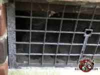 The screen behind a metal foundation vent cover is badly corroded and needs to be replaced to keep mice out of a brick house in Macon Georgia.