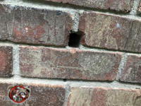 Roughly one inch rectangular hole where something used to go through a brick wall needs to be sealed to exclude mice from a Snellville Georgia home.