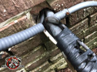 Hole in the brick wall with several pipes and wires passed through it also allowed mice to get into a house in Hoover Alabama