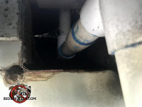 Large gap in the foundation wall with pipes passing through allowed an opossum into a house in Chattanooga Tennessee