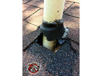 Raccoons tore up the rubber boot around a roof vent pipe at a house in Macon Georgia