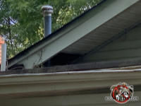Several missing sections of soffit panel where the sloped roof meets a roof junction point allowed raccoons into the attic of a house in Middle Valley Tennessee