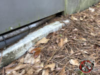 Gap under an outdoor freezer behind a restaurant in Albany Georgia needs to be sealed to keep Norway rats out of the restaurant.