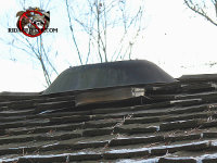 The attic fan is lifting up from the roof creating a gap through which roof rats got into the home