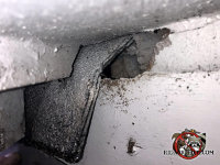 Quarter sized roof rat hole tucked under the roof overhang of a house in Jasper Tennessee was difficult to find