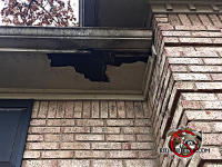 Squirrels gnawed a big irregularly shaped hole in the soffit of a house in Valdosta Alabama