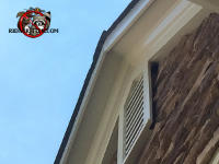 Gap on the side of a gable vent on a house in Cumming Georgia allowed squirrels to get in