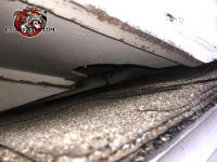 Squirrel hole in the soffit panel at the roof junction of a house in Chelsea Alabama