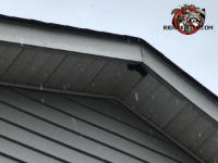 Squirrel hole in a soffit panel under the peak of the roof of a house in Chattanooga on a day when it was snowing