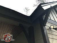 Painted sheet metal neatly applied to the perimeter of the roof of a house in Americus Georgia to keep squirrels out of the attic