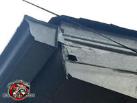 Small hole through a flap of paint on the soffit of a house in Columbus Georgia allowed yellow jackets to get into the attic of the house.