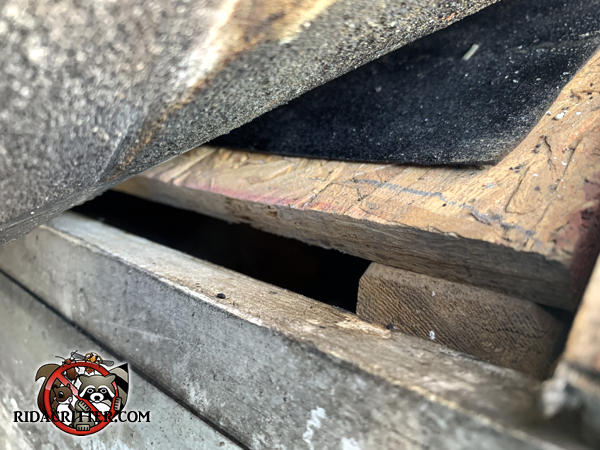 Gap of about five eighths of an inch between the roof sheathing and fascia board