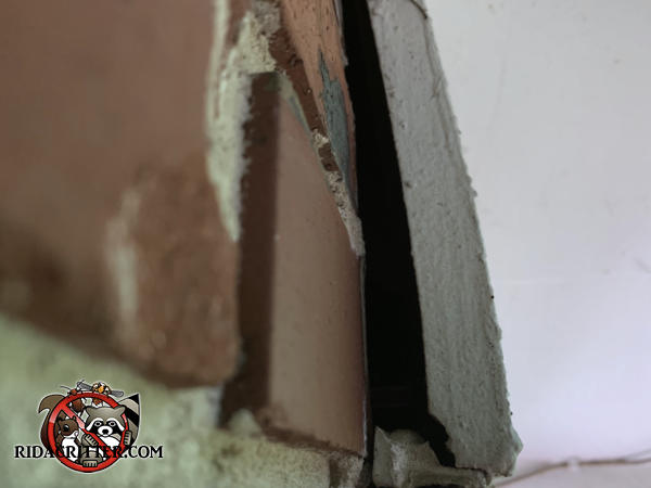 Half inch gap behind the end of a section of exterior molding allowed bats to get into the attic of a brick house in Atlanta