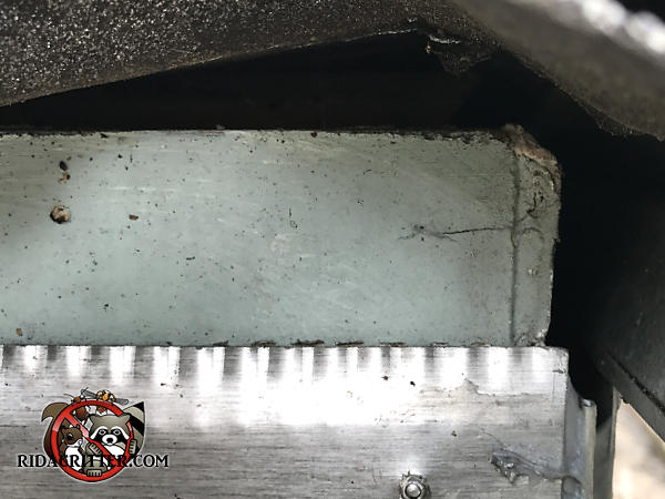The shingles are buckled a bit and created a triangular gap that bats were able to use to get into the attic of a house in Sandy Springs Georgia
