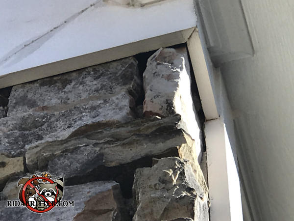 Gaps between the stones and the roof trim of a house in Johns Creek Georgia need to be sealed to make the house bat proof.