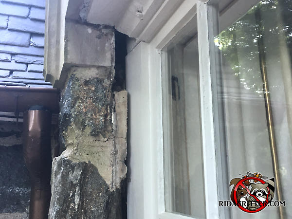 Half inch wide by two inch high gap between the top of a window frame and the stone exterior wall needs to be sealed to keep bats out of a house in Stone Mountain Georgia