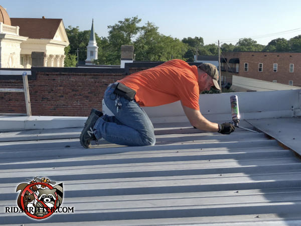 Man on the roof of a commercial building in Columbiana Alabama using sealant to keep the bats out of the building