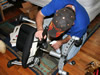Technician killing bedbugs in a chair in Sandy Springs, GA