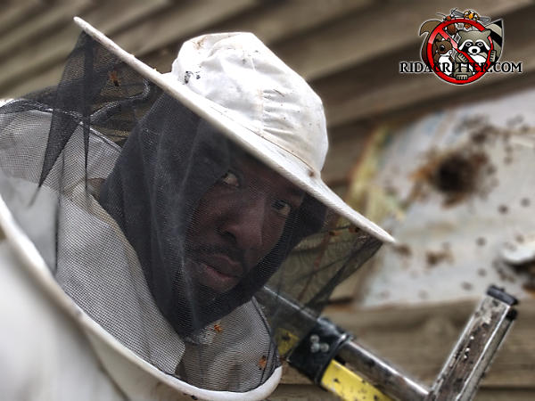 Head and shoulders of a man in a bee suit with a honey bee nest in the exposed exterior wall of a house in the background behind him