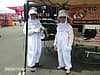 Two Rid-A-Critter staff members in bee suits at Bikers for Boobs 2013