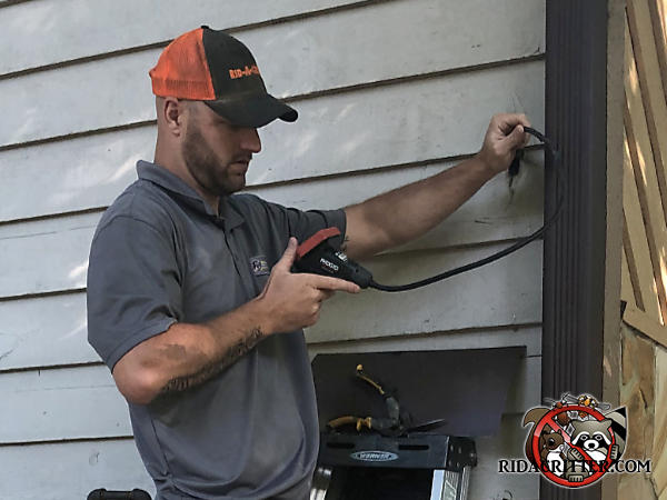 Man using an electronic bore scope to inspect a bird nest in a void in the wall of a house in Duluth Georgia