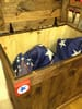 United States flags in a wooden storage box