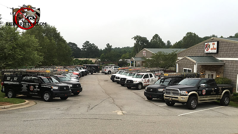 Two lines of animal-control trucks in formation in the parking lot of Rid-A-Critter headquarters