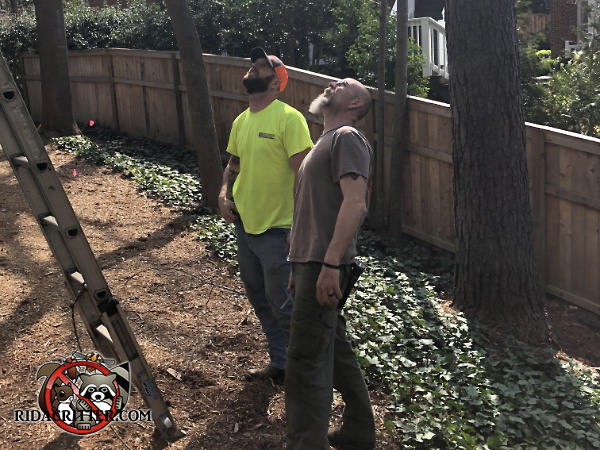 Two male technicians standing and looking up at the roof of a house in Atlanta to figure out how flying squirrels were getting into the house