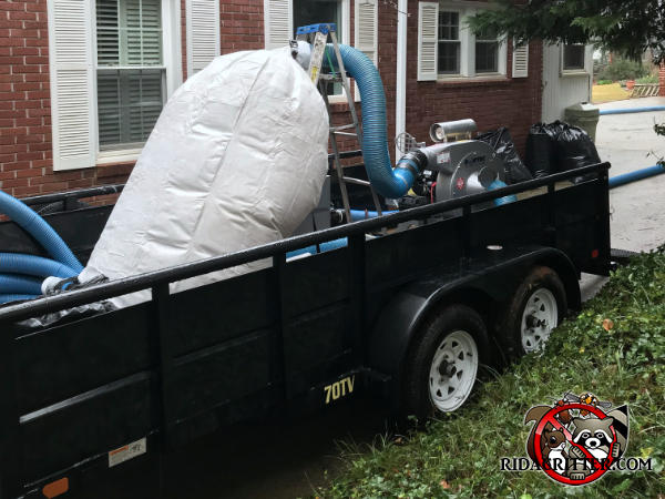 Huge filter bag of contaminated insulation in a trailer outside a house in Atlanta