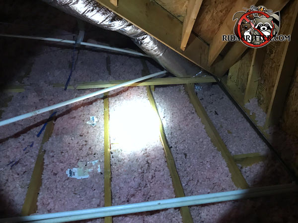 Dirty flattened out insulation between the joists in an attic in Avondale Estates needs to be removed and replaced