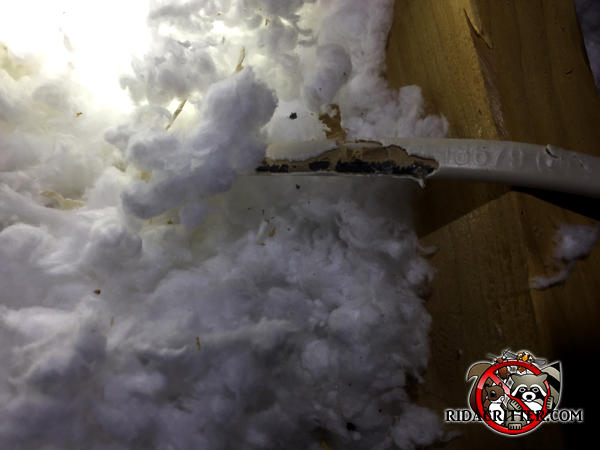 Mice gnawed the outer insulation off electrical wiring in the attic of a house in McDonough, Georgia.