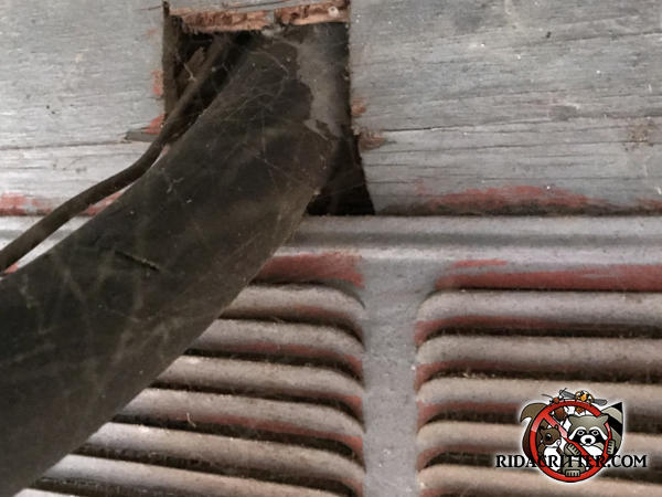 Mice got in through the space around the air conditioning pipes where they pass through the exterior wall