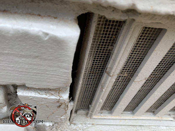 A gap of about half an inch between the foundation vent cover and the bricks needs to be sealed to keep mice out of a Douglasville Georgia home.