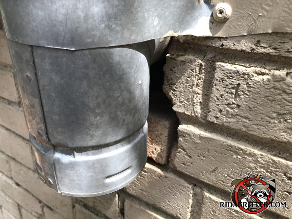 Gaps between the bricks behind a galvanized steel chimney must be sealed to keep mice out of a brick house in Athens Georgia.