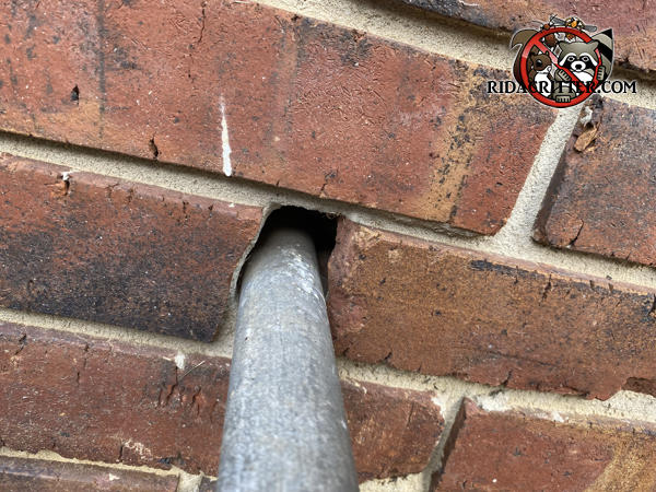 Gap over a metal pipe where it passes through a brick wall needs to be sealed to keep mice out of a house in Rome Georgia.