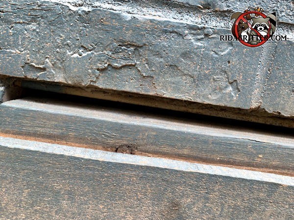 Quarter inch gap between the crawl space door and the bricks over it needs to be closed up to keep mice out of a house in Watkinsville Georgia.