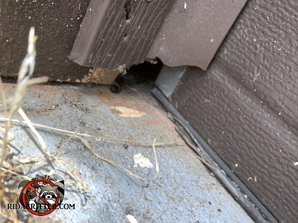 The vinyl garage door trim is broken at the bottom and will have to be repaired or replaced to keep mice out of a house in Cumming Georgia