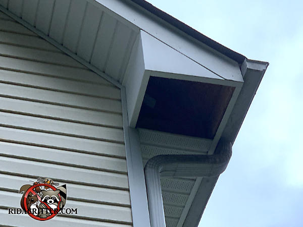 A one foot square section of soffit panel is missing from the soffit of a house in Villa Rica Georgia because it fell out under the weight of raccoons walking over it