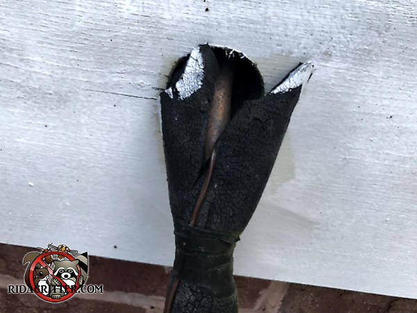 Gap around the air conditioning refrigerant line where it passes through the siding allowed rats into a Chattanooga home
